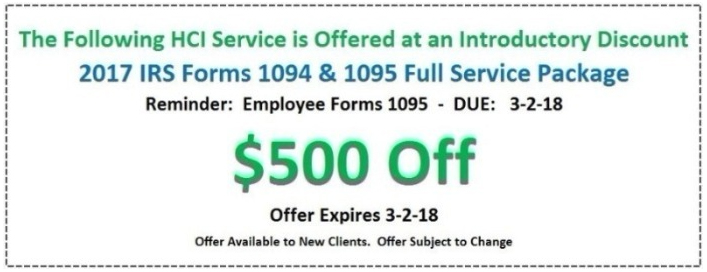Hcis New And Improved Aca Software For 2017 Irs Forms 1094 1095